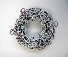 """SUSIE GANCH. Brooch 5x5x3"""" Sterling Silver, Stainless Steel, Enameled Copper 2009"""