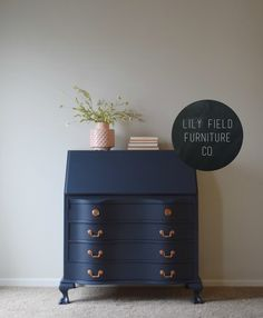 Navy and Copper Secretary Desk Makeover by Lily Field Furniture Navy Furniture, Upcycled Furniture, Furniture Projects, Cool Furniture, Refurbished Furniture, Painted Secretary Desks, Antique Secretary Desks, Desk Makeover, Furniture Makeover
