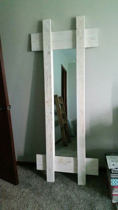 White wash full length mirror