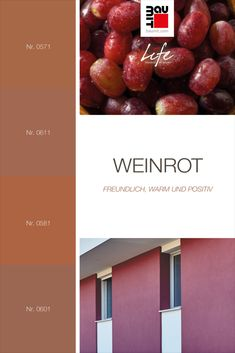 """Weinrot weist die gleichen Eigenschaften wie Rot auf: freundlich, warm und positiv. Auf Grundlage seiner Untertöne (kühl oder warm) passt es gut zu anderen weniger satten Farben wie Beige, Creme oder Hellgrau. Da Rot in der Sprache der Natur """"Achtung, aufpassen!"""" bedeutet, zieht es vom ersten Augenblick an die Aufmerksamkeit auf sich. Bestens verwendbar in Details oder geringem Umfang. #wirkungvonwandfarbe   #Farbtrends2020wohnen #Farbtrend #Farbtrendswohnen #farbinspiration #wein #rotwein Freundlich, Creme, Finding Yourself, Colours, Rich Colors, Red Wine, Language, Nature"""