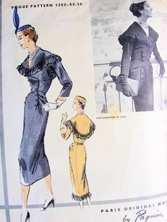 Vogue Paris Original 1282, Paquin, ca 1954-55; Sz 14/Bust 32 AND Sz 12/Bust 30