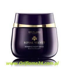 Royal Velvet Repairing Night Cream - Odbudowujący krem na noc Royal Velvet Oriflame. Odżywczy krem na noc z ekstraktem z czarnego irysa odbudowuje naturalne, młodzieńcze piękno skóry i przywraca jej sprężystość kiedy śpisz. Luksusowa formuła. Uzyskasz szybszy efekt ujędrniający, jeśli będziesz stosować razem z kremem na dzień Royal Velvet. 50 ml
