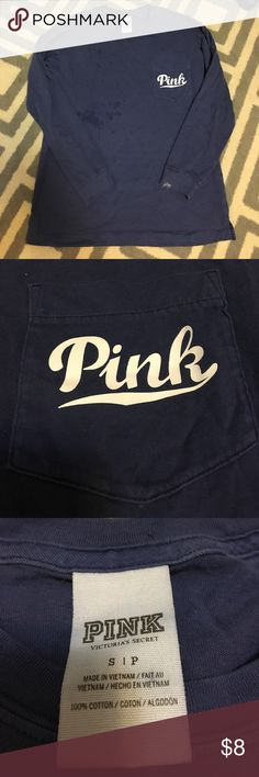 VS PINK long sleeve pocket tee Extremely cute and comfortable VS PINK long sleeve pocket tee, hardly worn, detergent stains from the washer (pictured above :( ), otherwise good condition PINK Victoria's Secret Tops Tees - Long Sleeve