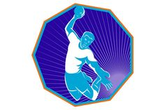 vector illustration of a handball player jumping throwing ball taking the shot set inside hexagon done in retro style. The zipped file includes editable vector EPS, hi-res JPG and PNG image.