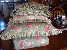FREE SHIP-Green Floral Queen Bedding Set by FrontierFancies