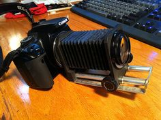 From a DIY steampunk blog; attaching old lenses onto a Canon DSLR.