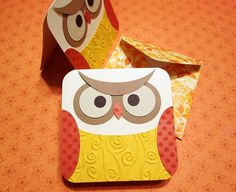 Owl Note Cards Set of 4 Orange and Yellow by PrettyPaperGreetings