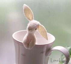 Pocket rabbit happy soft felt LoveLingZ bunny to be by LoveLingZ, $49.95