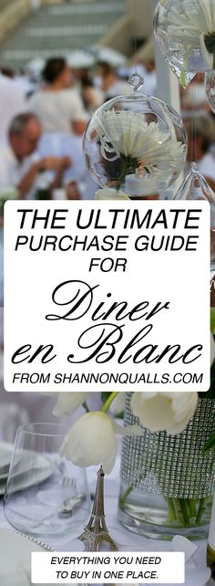 Everything you will need for Diner En Blanc listed in one place. : Everything you will need for Diner En Blanc listed in one place. Dinner Party Menu, Dinner Themes, Dinner Parties, Dinner Ideas, White Table Settings, Paris Party, Le Diner, Party Entertainment, Menu Design