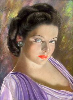 """Portrait of Gene Tierney - an exciting woman. - Actress appeared on Broadway in most famous role was in the 1944 movie""""Laura"""". - A wonderful art by Pal Fried. Renoir, Claude Monet, Portraits, Portrait Art, Woman Painting, Painting & Drawing, Vintage Beauty, Vintage Art, Vintage Woman"""