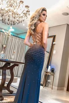 Gorgeous Straps Long Blue Prom Dress With Beading Mermaid Evening Dres – perfectdress Mermaid Evening Dresses, Prom Dresses Blue, Evening Gowns, Formal Dresses, Wedding Dresses, Photos Of Dresses, Beautiful Dresses, Party Dress, Fashion Outfits