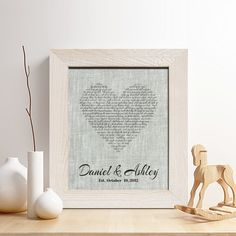 Personalized 4th Linen Anniversary Gift for Him or Her, First dance song Linen Print, Wedding Vows, any Text, Heart Linen Print,Gifts for Husband and Wife, 4 Years Together. This design is printed on high quality uncolored grey linen fabric, and makes the perfect gift for 4th anniversary or any occasion.