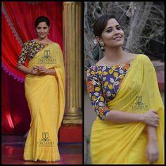 Anasuya Bharadwaj in a Hand Painted Kalamkari Blouse teamed with yellow pure chiffon Saree from Team Teja.For orders/querieswhats Kalamkari Blouse Designs, Saree Blouse Neck Designs, Kalamkari Saree, Kalamkari Blouses, Kalamkari Dresses, Ikkat Dresses, Silk Blouses, Saree Models, Blouse Models