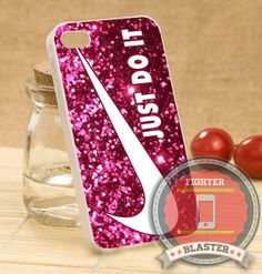 Nike Red Glitter - iPhone 4/4s/5/5S/5C Case - Samsung Galaxy S2/S3/S4 Case - Black or White by FIGHTERBLASTER on Etsy