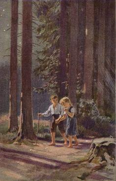 """""""Hänsel und Gretel"""" - Illustration zu Grimms Märchen, von Professor Paul Hey, Maler, Grafiker und Illustrator (19.10.1867 in München - 14.10.1952 Gauting)"""