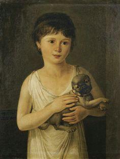 Portrait De Fillette Avec Son Carlin, Jeanne-Elisabeth Chaudet Plus