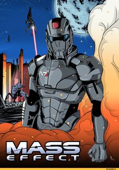 Mass Effect - Shepard Poster commission N7 Armor, Mass Effect Tali, Mass Effect Characters, Star Force, Commander Shepard, Cartoon Posters, Dead Space, Sci Fi Movies, My Favorite Image