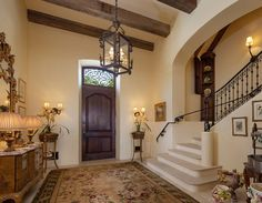 Marble & iron staircase, Old World style home