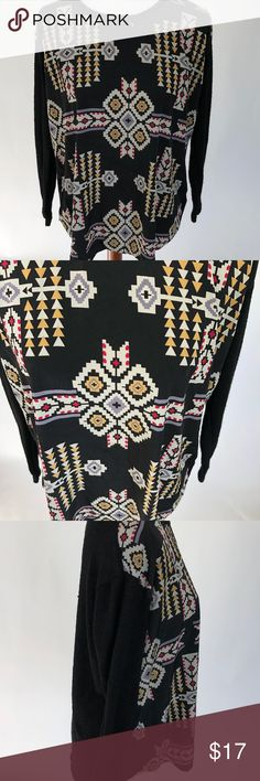 Forever 21 Top  Size Black Aztec Sheer Back XL Forever 21 Womens Sweater Shirt Size XL Black Aztec  Sheer Back Long Sleeve   Women's Forever 21 Shirt. Tag Size Extra Large   Measurements(In inches) Armpit to armpit: 22.5 Length: 25  Good, gently used condition.  Thank you for shopping my store! Please follow my store for promotions and sales. Forever 21 Tops Blouses