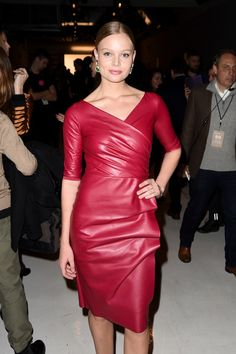 Magdalena Frackowiak attends the Chiara Boni La Petite Robe collection during, New York Fashion Week: The Shows at Gallery Skylight Clarkson Sq on February 2017 in New York City. Red Leather Dress, Leather Dresses, Hot Outfits, Stylish Outfits, Sexy Dresses, Evening Dresses, Mode Rose, Mini Robes, Leather Fashion