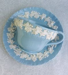 Wedgwood Embossed Queen's Ware White Vine on Blue Shell Edge ~ Cup & Saucer Duo  ....