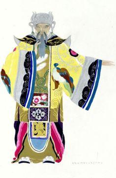 Umberto Brunelleschi (1879 -1949, Italy), 1926, Mandarini, Dignitari Corteo, Costume Design for Turandot Opera by Giacomo Puccini, Teatro dell'Opera, Roma, Pencil, Tempera.