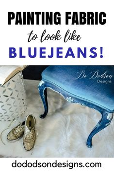 Look what painting fabric did for this chair! Baby's got her bluejeans on. #dodsondesigns #paintingfabric #fabricpaint #paintedchair #upcycled #repurposed #paintedfurniture #furnituremakeover #bluejean