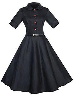 Cheap white collar black dress