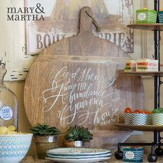 Suggested Text: Check out the NEW Abundance Pizza Tray from Mary & Martha! The message is hand-lettered by Lindsay Letters, adding a beautiful uniqueness to my kitchen! I think it would look beautiful in YOUR home!