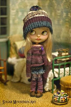 Autumn Song. Knitted Sweater, Denim Mini, Cozy Hat, Leggings And Leg Warmers For Blythe Doll