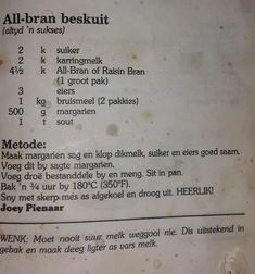 All bran beskuit Bread Recipes, Baking Recipes, Cookie Recipes, Healthy Foods, Healthy Eating, Healthy Recipes, Rusk Recipe, All Bran, Home Food