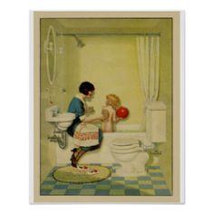 Old Fashioned Bathroom Scene Posters