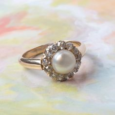 Pearl, diamond, & gold vintage ring from Trumpet & Horn <3