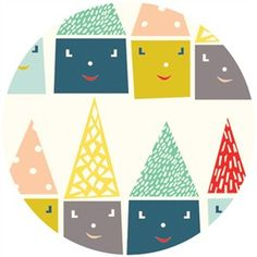 Emily Isabella for Birch Organic Fabrics, Happy Town, KNIT, Happy Houses