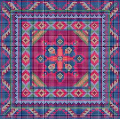 Charted mini rug pattern square
