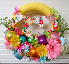 Vintage Gnome Garden Party Springtime Wreath door dimestorechic