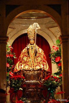 Imagen de San Fermín, santo patrón de Pamplona y Navarra, sita en la Capilla de San Fermín, en la Iglesia de San Lorenzo (Rincón de la Aduana)