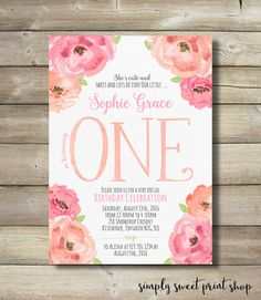 Flower Girl First Birthday Party Invite Invitation 1st 1 One Flower Floral Pink Peach Coral Whimsical Cute Sweet Fun Pretty Garden Country by SimplySweetPrintShop on Etsy https://www.etsy.com/listing/281792876/flower-girl-first-birthday-party-invite