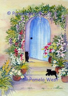 Shop for cat on Etsy, the place to express your creativity through the buying and selling of handmade and vintage goods. Cottage Door, Summer Landscape, Black Cats, Doors, Digital, Unique Jewelry, Handmade Gifts, Painting, Vintage