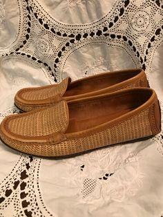 e64099d50cb7 Details about Ladies Ferragamo Tan Leather Woven Loafers 5.5M