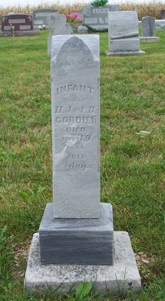 Infant Son of H.J. & L.B. Cordier, Zion Lutheran Cemetery, Mercer County, Ohio. (2011 photo by Karen) #genealogy