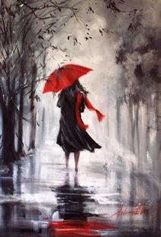 Woman with red umbrella in the rain painting. Umbrella Painting, Rain Painting, Umbrella Art, Watercolor Paintings, Arte Black, Black Art, Rain Art, Love Art, Painting Inspiration