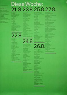 Munich Olympic Weekly Schedule Poster, 1972
