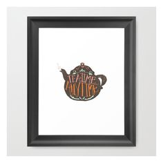 Tea Time. Any Time. - Color Framed Art Print (140 PLN) ❤ liked on Polyvore featuring home, home decor, wall art, framed art prints, black home decor, quote wall art, acrylic wall art, framed wall art and graphic illustration