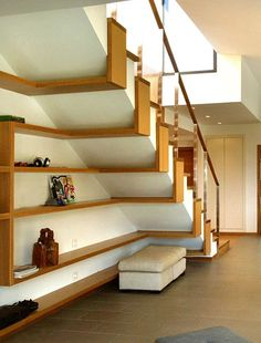 44 Unbelievable Storage Under Staircase Ideas Bewitching Your Staircase Look Clever - Elevatedroom Under Staircase Ideas, Storage Under Staircase, Stair Storage, Storage Shelves, Railing Ideas, Stair Shelves, Storage Ideas, House Shelves, Open Staircase