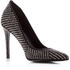 Dolce Vita Porsha Studded Pointed High Heel Pumps (55 KWD) ❤ liked on Polyvore featuring shoes, pumps, hematite, dolce vita pumps, dolce vita shoes, studded pumps, dolce vita footwear and pointed shoes