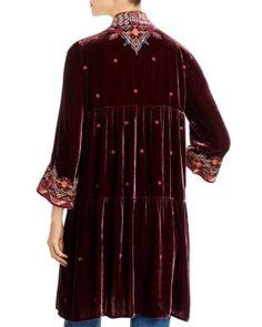 Johnny Was Ravi Embroidered Velvet Tiered Kimono Women - Bloomingdale's Contemporary Clothing, Johnny Was, Bordeaux, Bohemian Style, Tunics, Kimono, Velvet, Women's Fashion, Queen