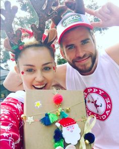 """<p>Miley Cyrus brings out Liam Hemsworth's silly — and crafty — side! """"Happy Hollydaze!"""" she captioned this snap of her and her beau on Christmas Day wearing antlers and posing with a present wrapped by Hemsworth. She proudly added the hashtag, #bestpresentwrappereva. (Photo: <a rel=""""nofollow"""" href=""""https://www.instagram.com/p/BOc-VuyBuUJ/"""">Instagram</a>) </p>"""