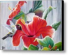Bird And Flower Canvas Print / Canvas Art By Ramadan Agolli