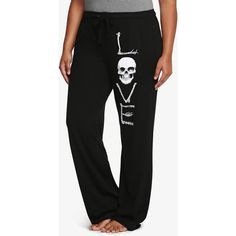 Torrid Love Skull Sleep Pants ($25) ❤ liked on Polyvore featuring plus size women's fashion, plus size clothing, plus size intimates, plus size sleepwear, plus size pajamas, pajamas, pants, skull pajamas, cotton pjs and white pajamas
